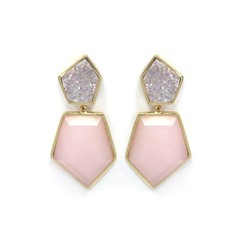 DOUBLE STONE EARRINGS IN DURZY AND PINK OPAL