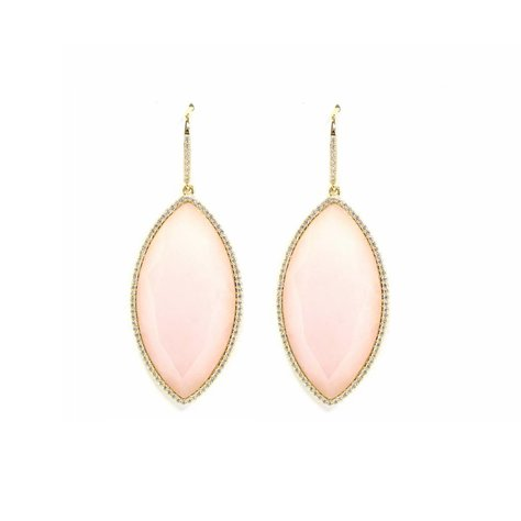 MELANIE AULD PAVE MARQUISE EARRINGS IN PINK OPAL