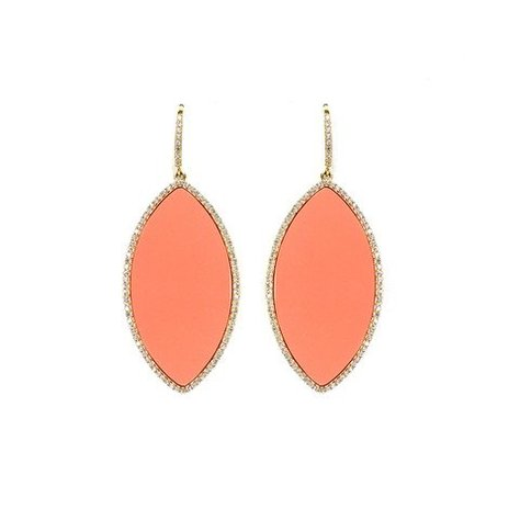 MELANIE AULD PAVE MARQUISE EARRINGS IN CORAL
