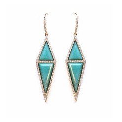 PAVE STONE DIAMOND EARRINGS IN AMAZONITE