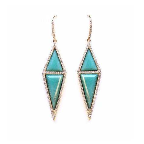 MELANIE AULD PAVE STONE DIAMOND EARRINGS IN AMAZONITE