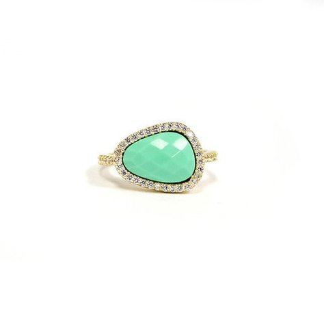 MELANIE AULD PAVE NATURAL RING IN SEAFOAM