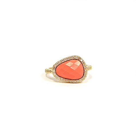MELANIE AULD PAVE NATURAL RING IN CORAL