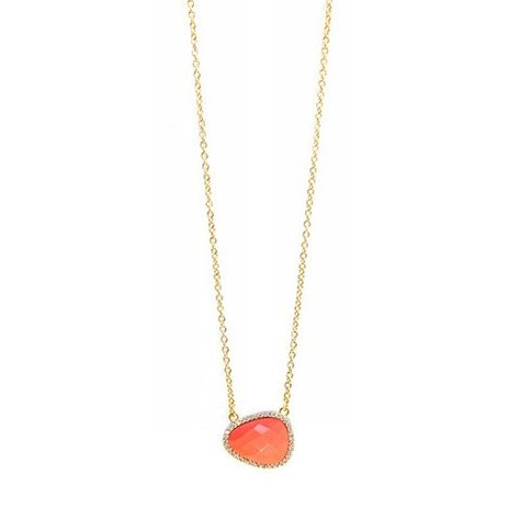 MELANIE AULD PAVE NATURAL STONE NECKLACE IN CORAL