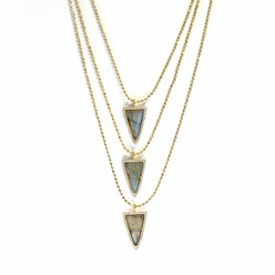 3 TIER PAVE TRIANGLE NECKLACE IN LABRADORITE