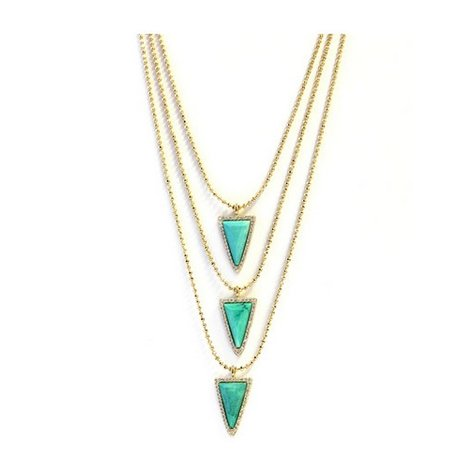 MELANIE AULD 3 TIER PAVE TRIANGLE NECKLACE IN TURQUOISE