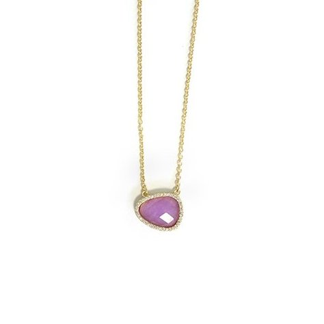 MELANIE AULD PAVE NATURAL STONE NECKLACE IN LAVENDER JADE