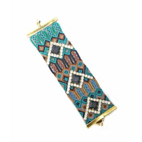 GYPSIES AND DEBUTANTES WIDE FRIENDSHIP BRACELET IN BLUE