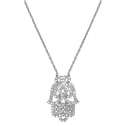HAMSA NECKLACE IN WHITE GOLD