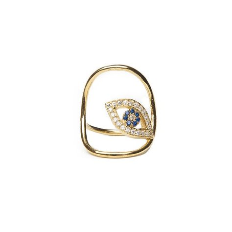 ALEX MIKA EVIL EYE ROUND RING IN GOLD