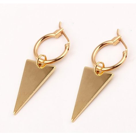 CIRCLE TRIANGLE EARRINGS IN GOLD