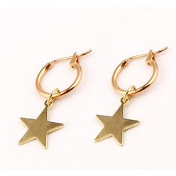 CIRCLE STAR EARRING IN GOLD