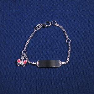 """Plaatarmbandje zilver """"vlinder"""" 9-11 cm"""