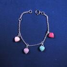 """Bedelarmbandje zilver """"hartjes"""" 4 kleuren, 11-13cm"""