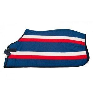 QHP fleecedeken rood/wit/blauw