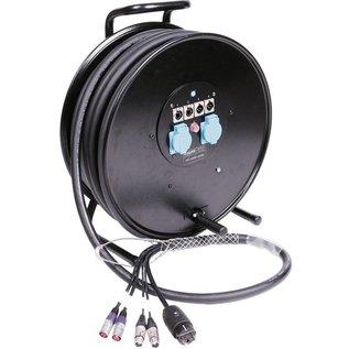 Combikabel, 2x cat ethercon + 2x audio XLR + Power op haspel