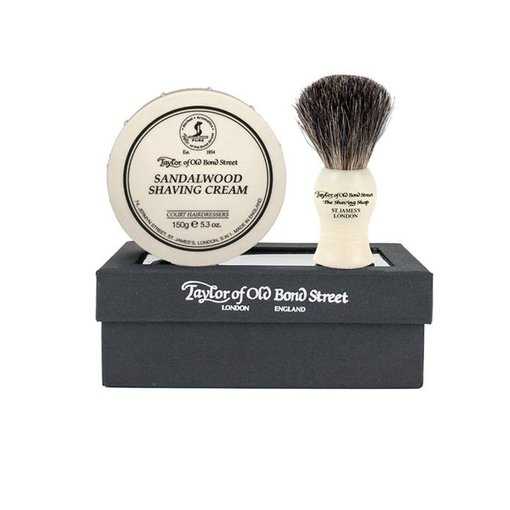Taylor of Old Bond Street Giftset Sandalwood Scheercrème + Pure Badger kwast