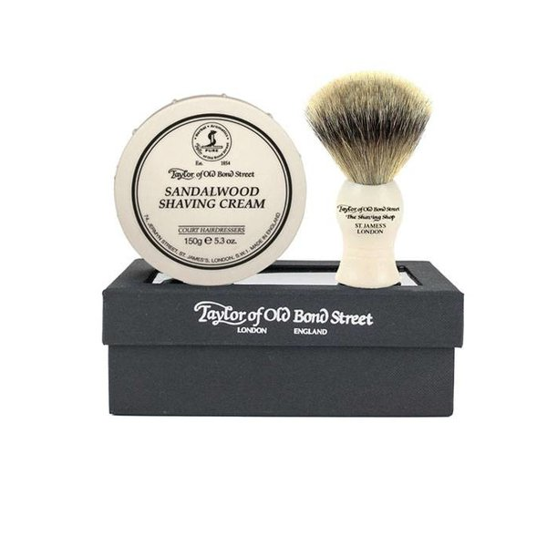 Giftset Sandalwood Shaving Cream + Super Badger kwast