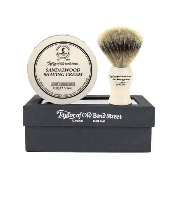 Taylor of Old Bond Street Giftset Sandalwood Shaving Cream + Super Badger kwast
