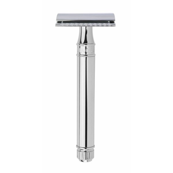 Double Edged Safety Razor extra lang chrome met lijnen