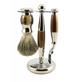 Edwin Jagger 3-delige Mach3™ scheerset Nickel & Light Horn