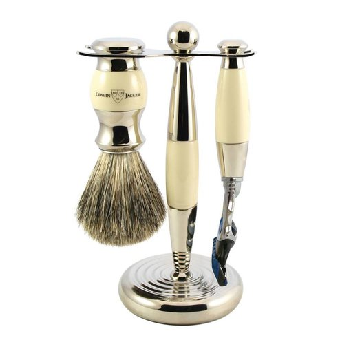 Edwin Jagger 3-delige Fusion® scheerset Nickel & Ivory