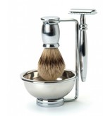 Edwin Jagger Bulbous Metal Safety Razor 4-delige scheerset Nickel Lined