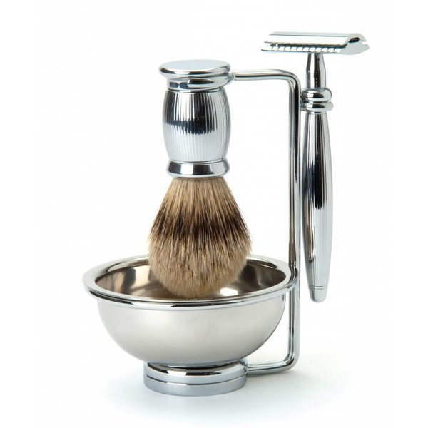 Bulbous Metal Safety Razor 4-delige scheerset Nickel Lined