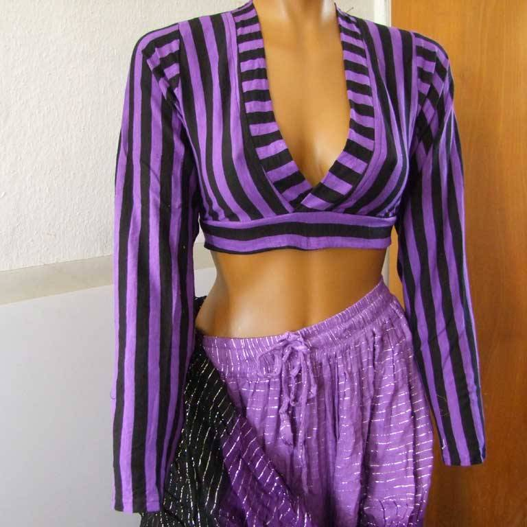 Tribal Choli Stripes purple
