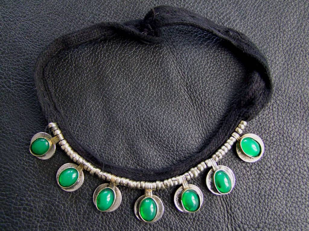 Tribal Necklace with green stones