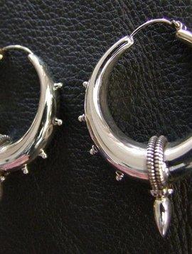 Bali Creolen mit Spitze, Silber groß