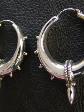 Silver Bali Earrings with spike, large