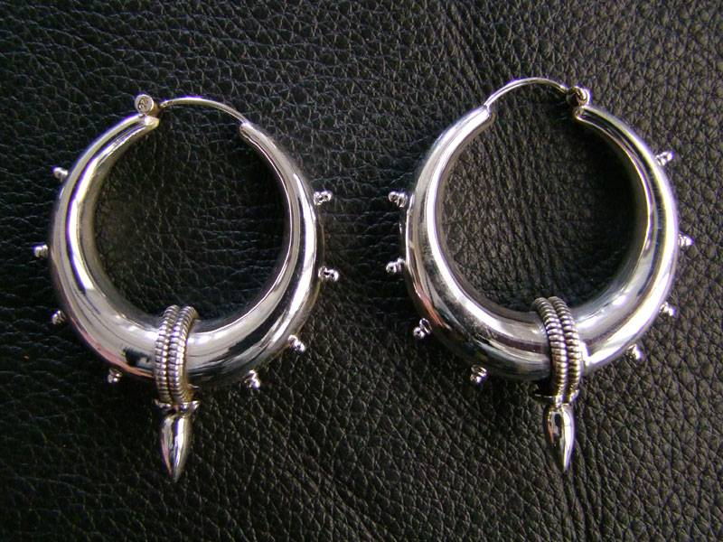 Silver Bali Earrings With Spike
