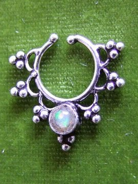 Silver fake Septum/ nosering, Opal