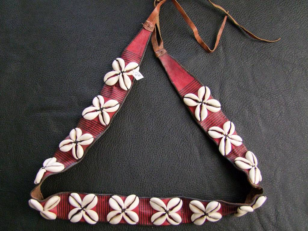 Cowry-leather belt
