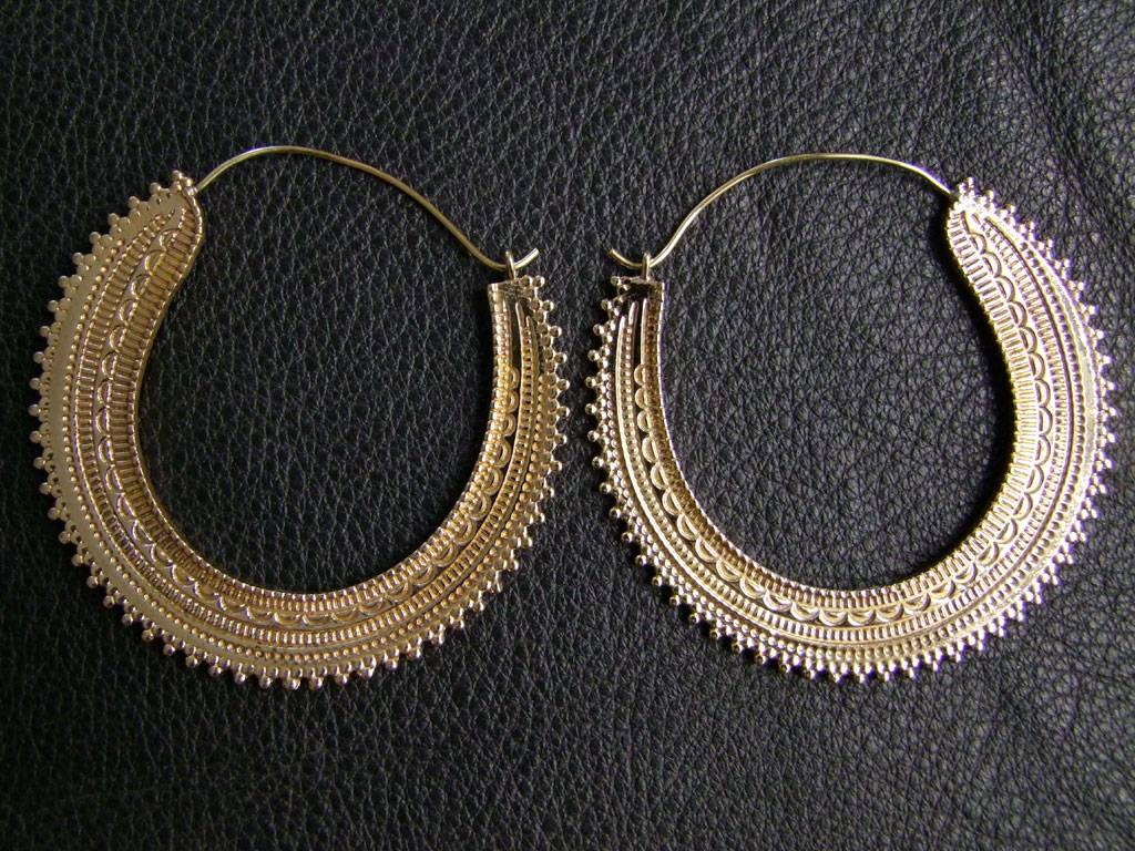 Tribal brass Earrings *Afghan hoops*