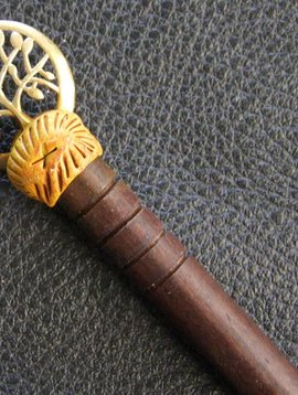Hairpin, wood with brass
