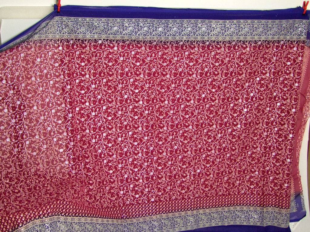 Jodha mharani Saree red/ blue