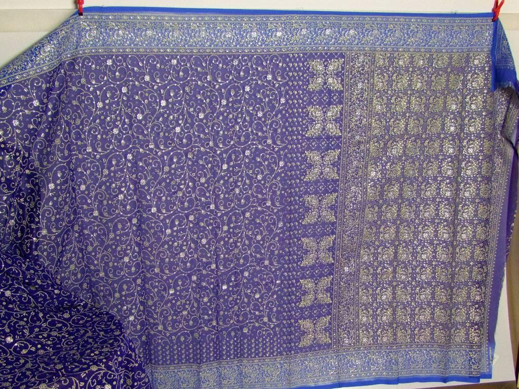 Jodha mharani Sari royalblau/ hellblau