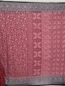 Jodha mharani Saree burgundy/ black