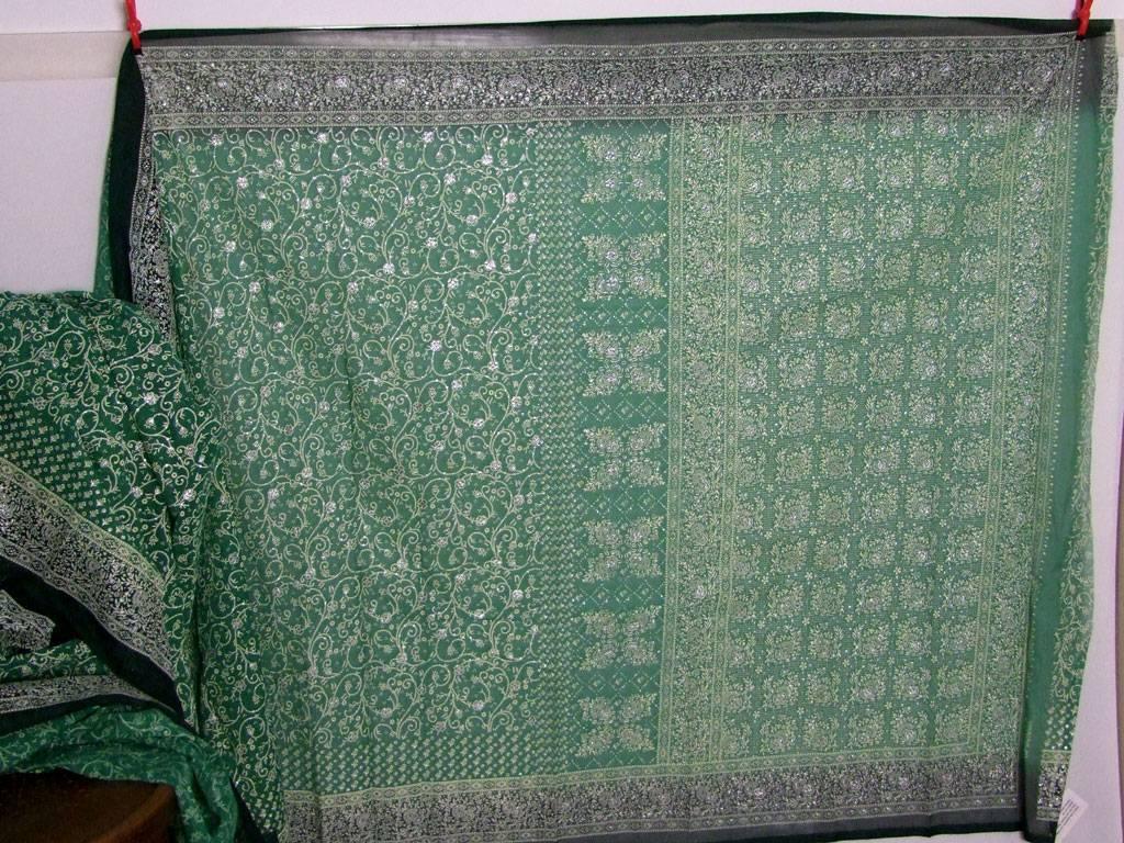 Jodha mharani Saree green/ green