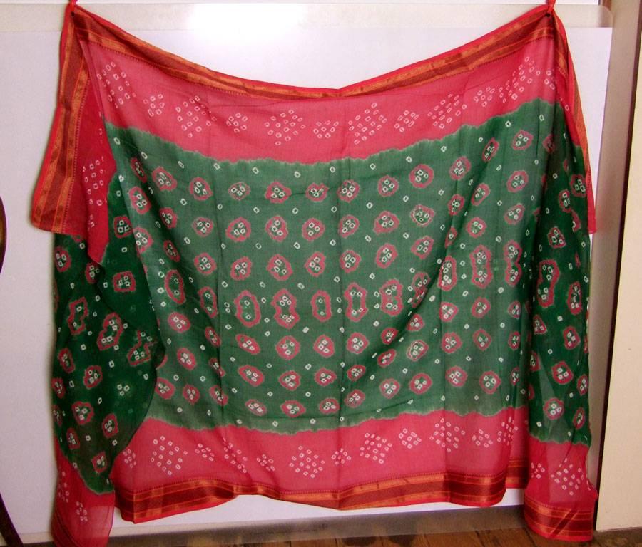 Bandhani Tuch/ Dupatta grün/ rot