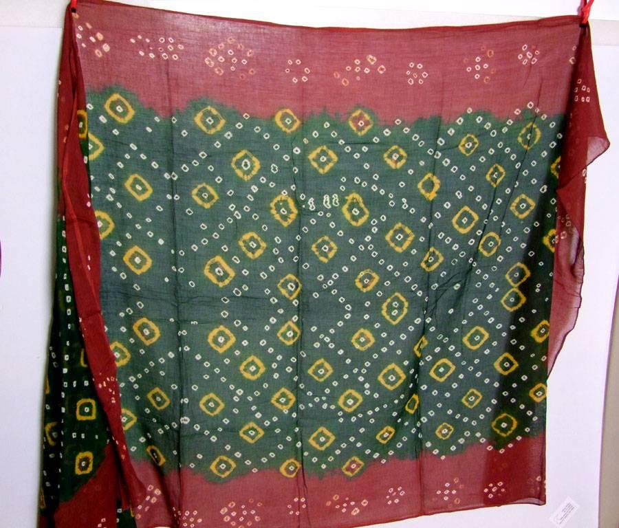 Bandhani Tuch/ Dupatta grün/ rostrot