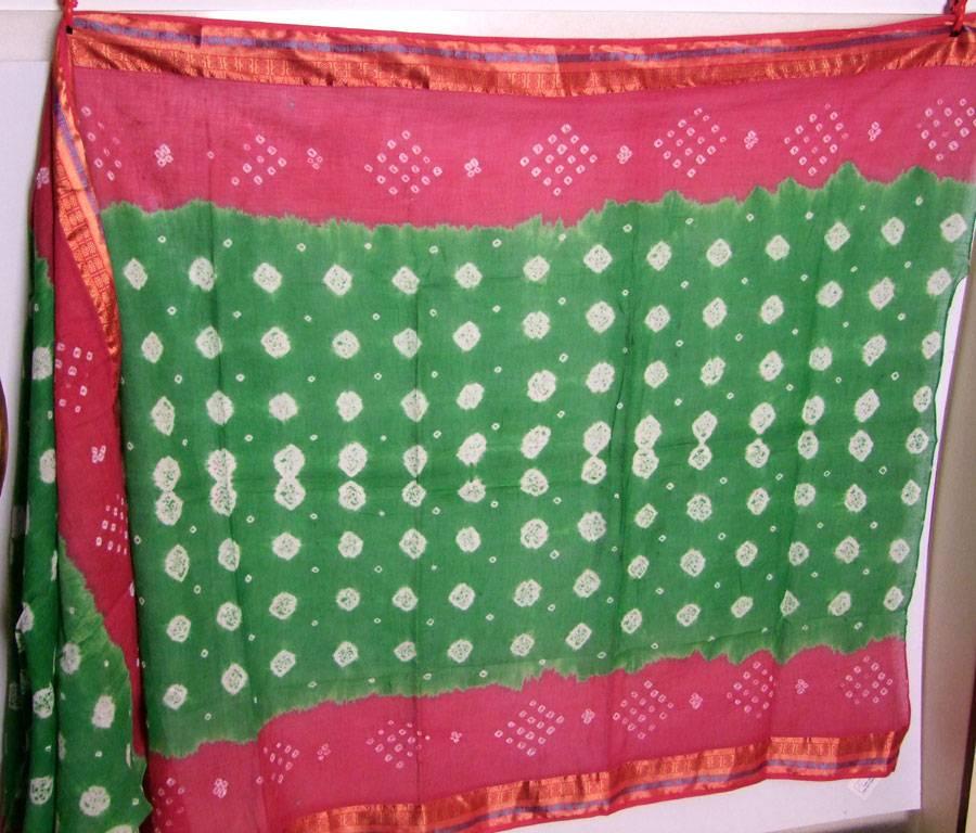 Bandhani Tuch/ Dupatta grün/ pink-rosa