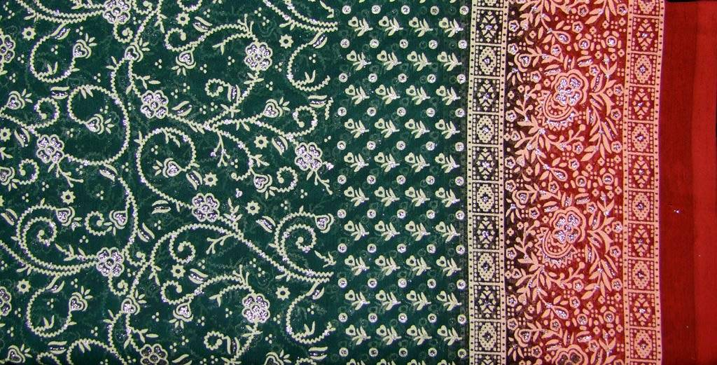 Jodha mharani Saree green/ red