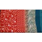 Jodha mharani Saree red/ turquoise