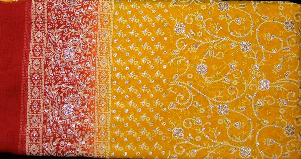 Jodha mharani Saree yellow/ red
