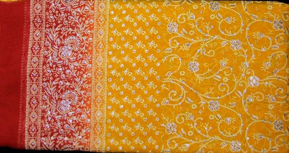 Jodha mharani Sari gelb/ rot