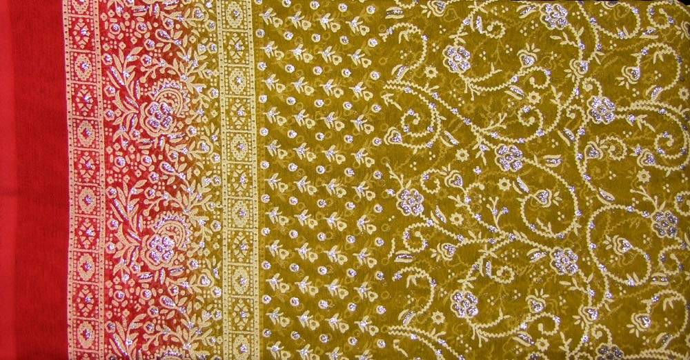 Jodha mharani Sari senfgelb/ rot
