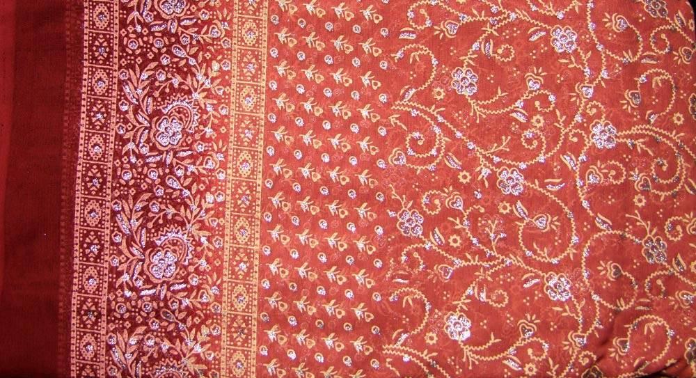 Jodha mharani Sari matt orange/ weinrot